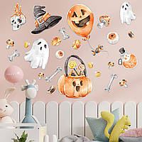 Хэллоуин декор Набор наклеек Череп и кости матовая (виниловые наклейки Хеллоуин тыквы привидения) Набор М