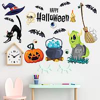 Декор на Хэллоуин Жуткий набор ведьм матовая (виниловые наклейки летучие мыши метла кошка) Набор М