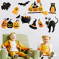 Хэллоуин Декор Наклейки Тыквенная жуть матовая (наклейки Хеллоуин тыквы кошка привидения) Набор М