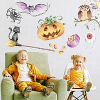 Наклейки для Хэллоуина Halloween матовая (тыква паук кот летучая мышь метла декор хеллоуин) Набор М 1100х500мм