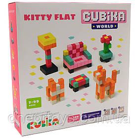 Детский деревянный конструктор Cubika (Кубика) домик кошки, 200 деталей, 15313