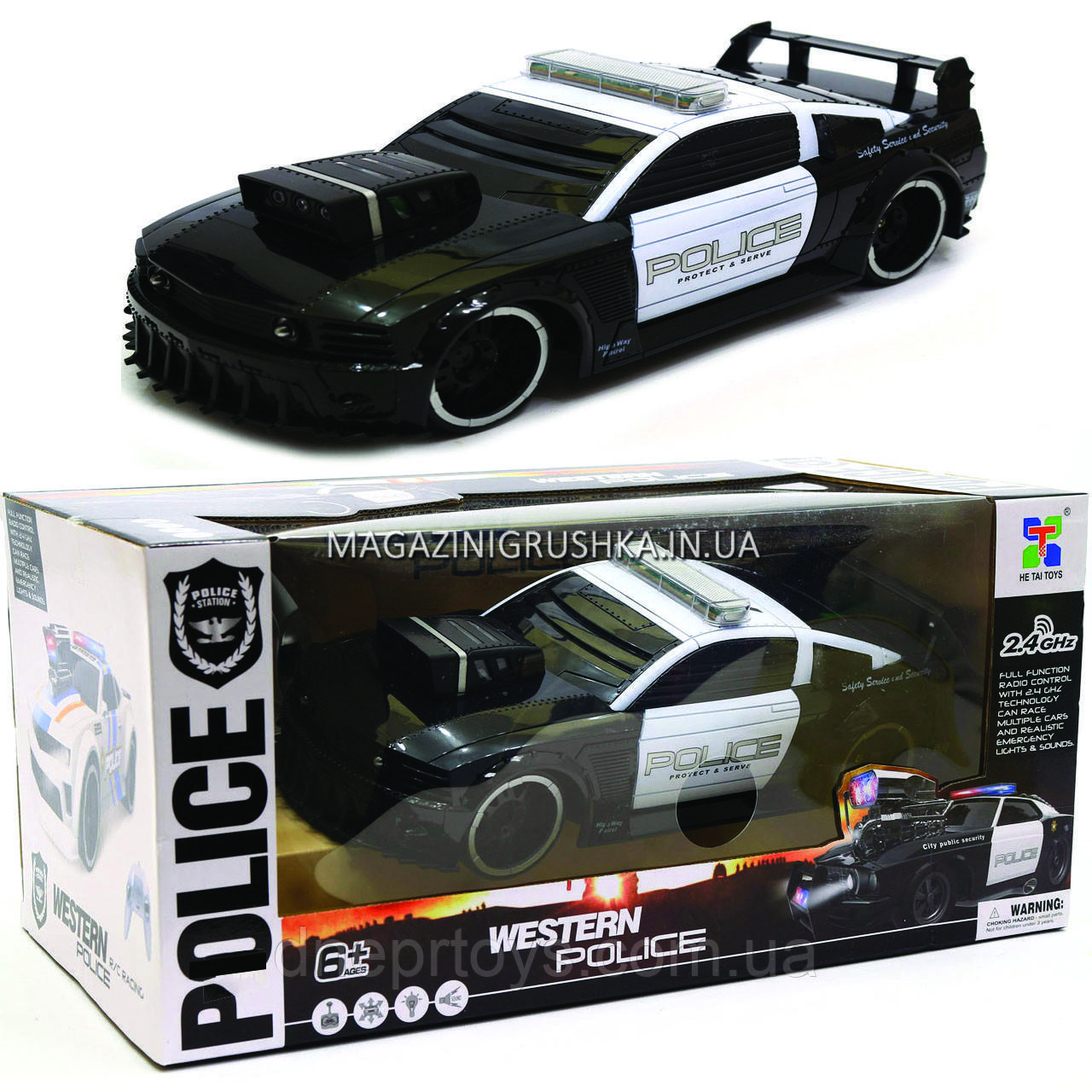 Машинка «Полиция» на радиоуправлении 75599P (аккумулятор, звук, свет, резиновые колеса)