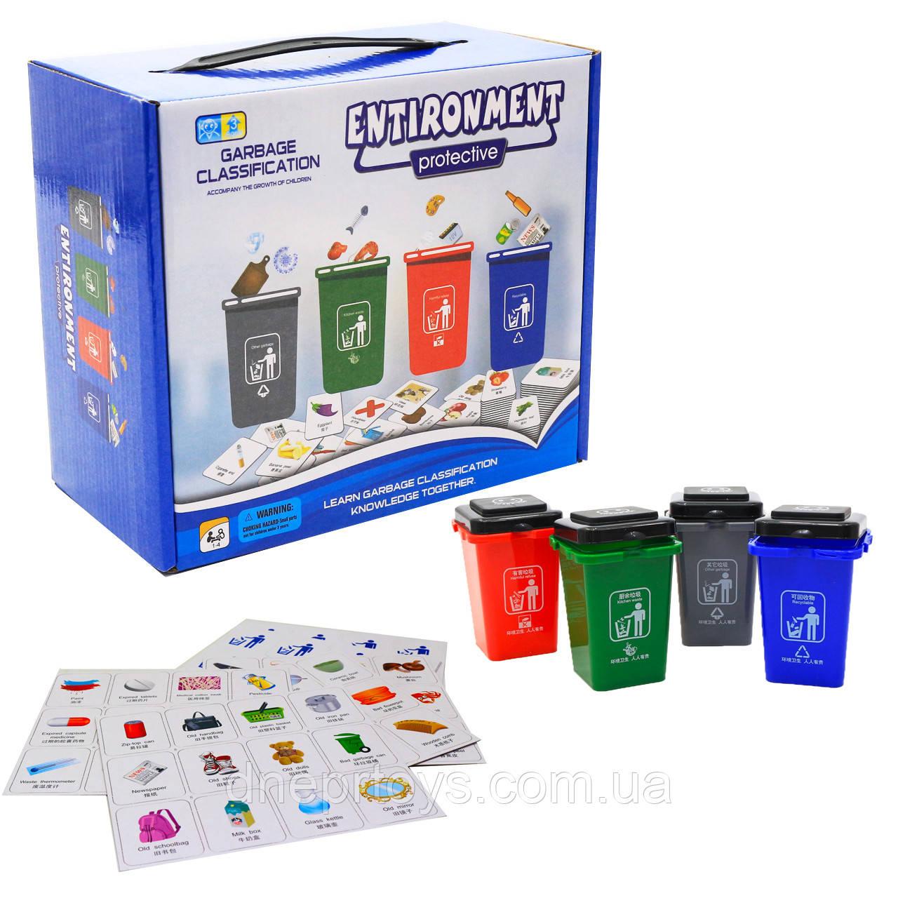 Настольная игра развивающая «Охрана окружающей среды» Renbo Toys, Сортировка мусора, 21*18*11 см, (1988)