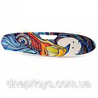 Пенни борд (скейт) с бесшумными светящимися колесами, ручка (абстракция) C-40311, фото 2