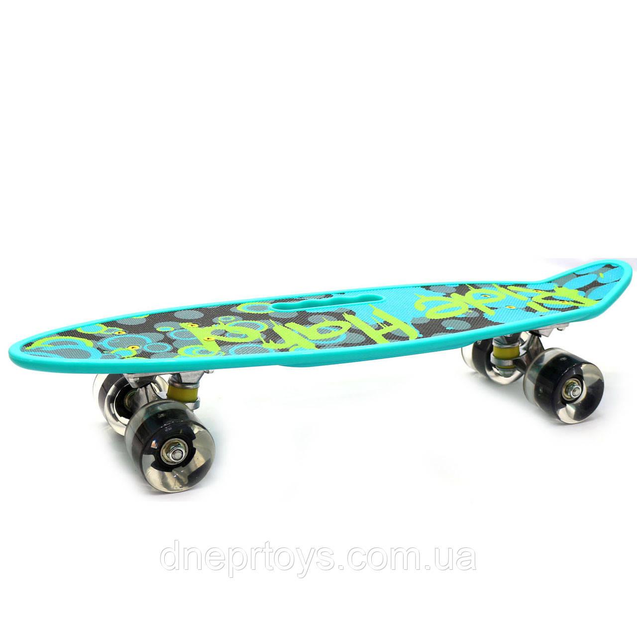 Пенни борд (скейт) со светящимися колесами и ручкой. Бесшумный Penny Board бирюза (С-40310)