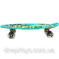 Пенни борд (скейт) со светящимися колесами и ручкой. Бесшумный Penny Board бирюза (С-40310), фото 2