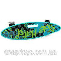 Пенни борд (скейт) со светящимися колесами и ручкой. Бесшумный Penny Board бирюза (С-40310), фото 3