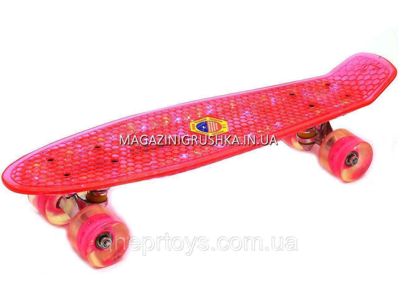 Пенни борд 22582 Розовый с бесшумными колесами, подсветка, MP-3, bluetooth