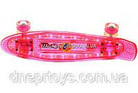 Пенни борд 22582 Розовый с бесшумными колесами, подсветка, MP-3, bluetooth, фото 3
