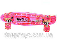 Пенни борд 22582 Розовый с бесшумными колесами, подсветка, MP-3, bluetooth, фото 4