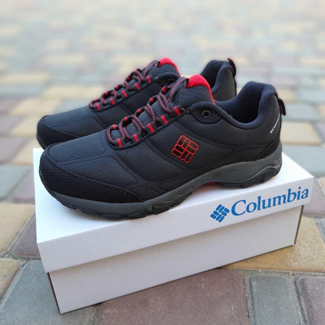 Мужские зимние кроссовки Columbia Firecamp (Чёрный с красным) О3536 утепленная обувь еврозима для парней