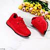 Яркие красные замшевые повседневные зимние женские кроссовки на меху, фото 8