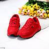 Яркие красные замшевые повседневные зимние женские кроссовки на меху, фото 5