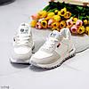 Білі замшеві повсякденні зимові жіночі кросівки на хутрі шнурівка, фото 3
