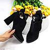 Елегантні чорні замшеві ботильйони жіночі черевики з декором на зручному каблуці 41-26см, фото 8