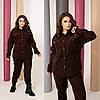 Стильний жіночий костюм коричневий з вельвету ТКА/-6665