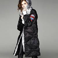 Куртка зимняя женская черная, длинный пуховик, СС-8480-10