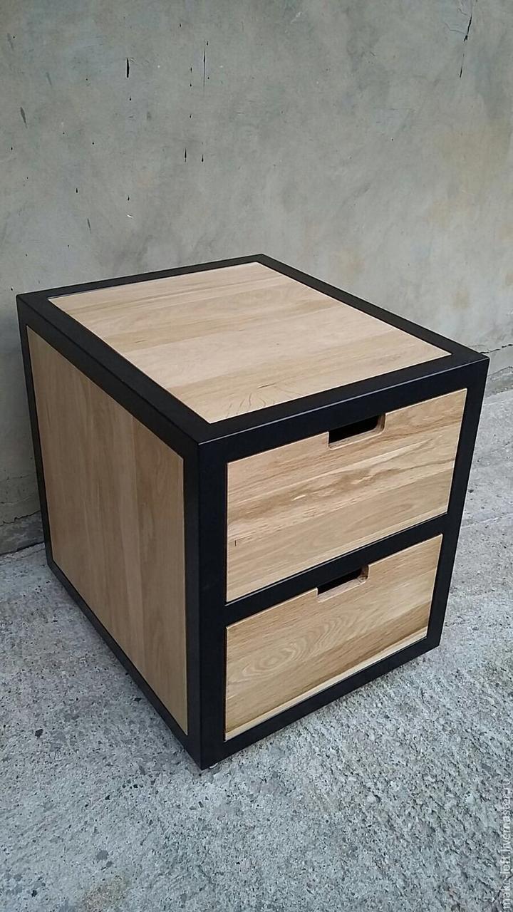 Офісна тумба в стилі лофт з натурального дерева