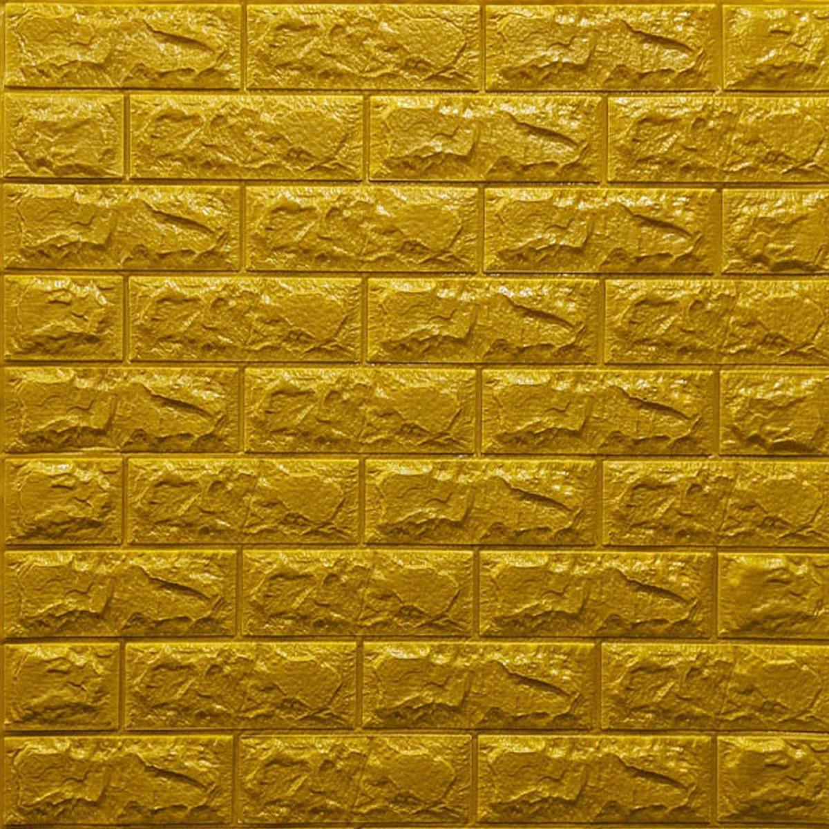 Декоративна 3D панель самоклейка під цеглу Золотий 700х770х7мм (011-7)