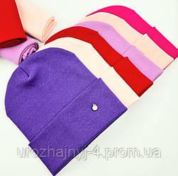 Дитячий подвійний трикотажний комплект шапка і хомут з нашивкою 52-54р код 5083 Glory-kids
