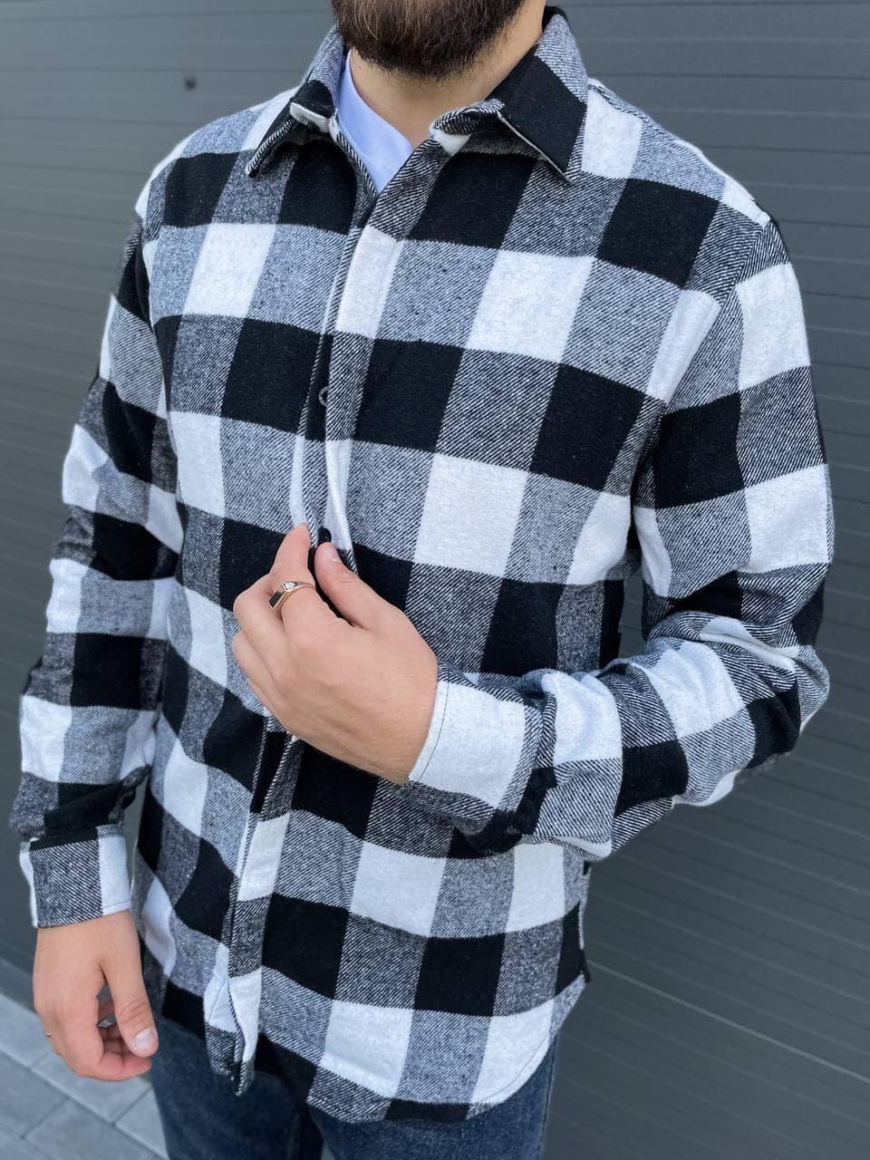 Мужская рубашка байковая теплая (серые) модная в клеточку А4664