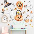 Готові інтер'єрні наклейки хеллоуїн Halloween декор на стіну Набір Череп і кістки Л 1100х1000мм, фото 3
