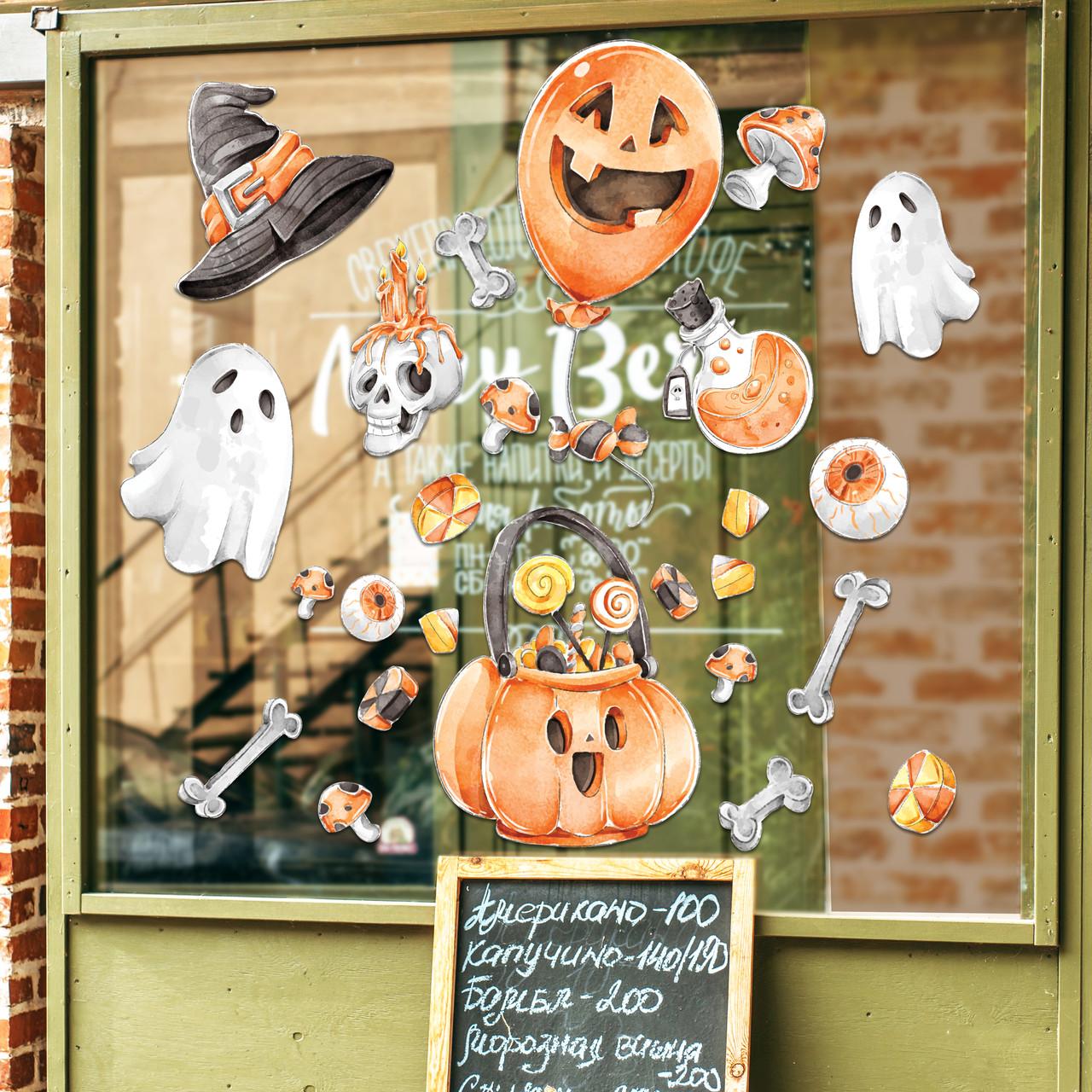 Готові інтер'єрні наклейки хеллоуїн Halloween декор на стіну Набір Череп і кістки Л 1100х1000мм