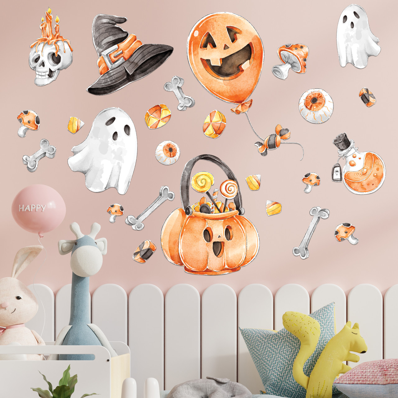 Готові інтер'єрні наклейки хеллоуїн Halloween декор на стіну Набір Череп і кістки ХЛ 1100х1500мм