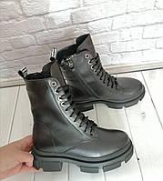 Женские ботинки кожные зимние на толстой подошве 37 38 39 41 размеры