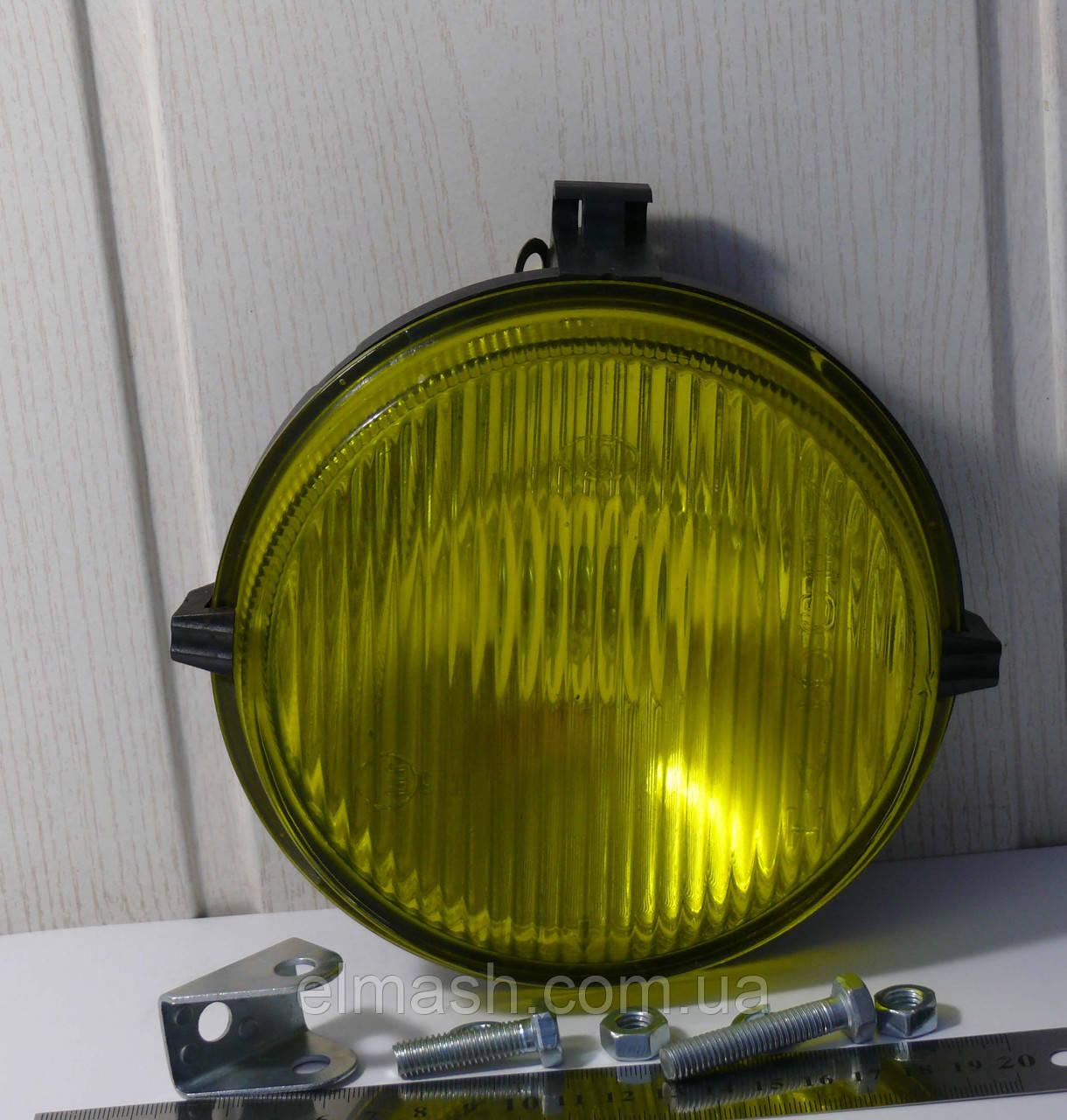 Фара противотуманная МТЗ круглая, с галогеновой лампочкой (жёлтое стекло) (пр-во Украина)