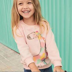 Свитшот для девочки однотонный с изображением жирафа розовый Rainbow giraffe Berni Kids (80)