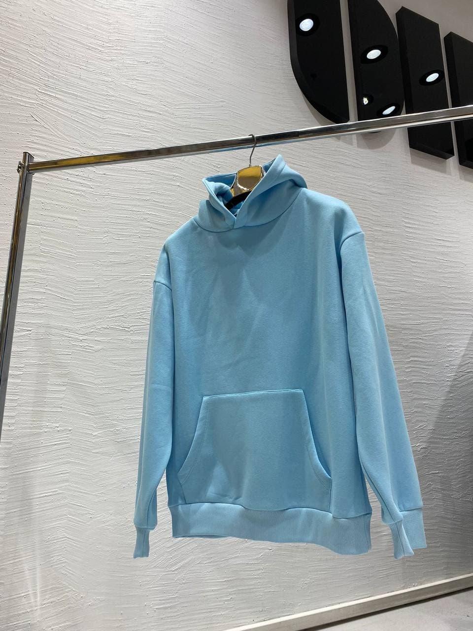 Мужская худи однотонная (голубая) качественная кофта на флисе А4111