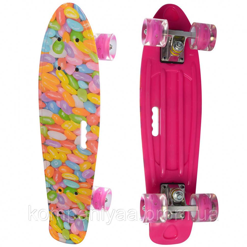 Детский скейт MS 0749-7 с рисунком (Розовый )