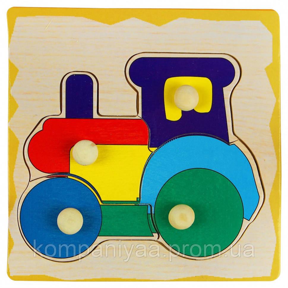 Дитяча дерев'яна розвиваюча Рамка-вкладиш WD599 (Трактор)