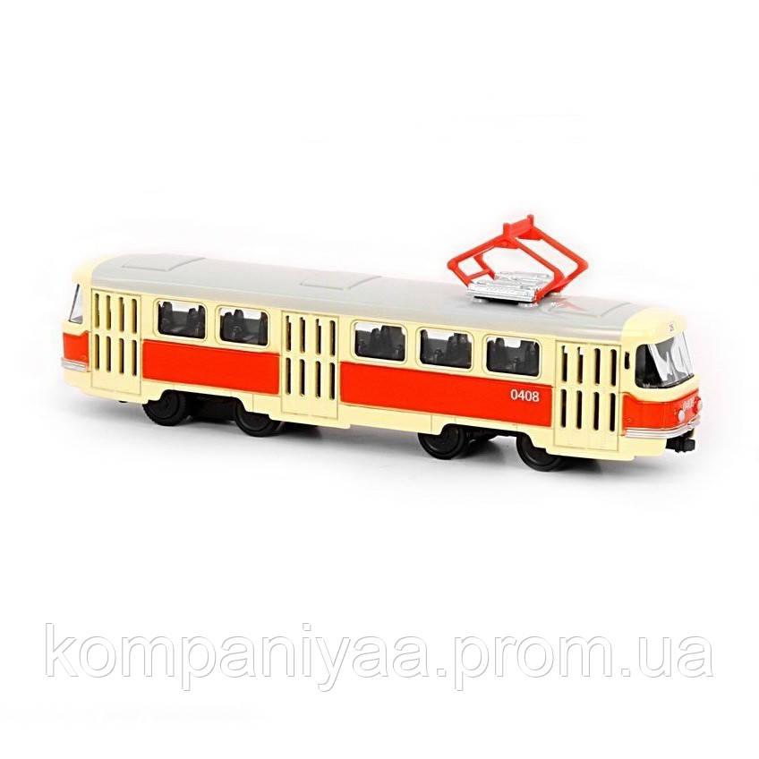 """Іграшкова модель трамвая 6551 PLAY SMART """"FAST WHEELS"""" інерційний (Помаранчевий)"""