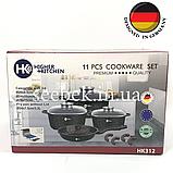 Набір посуду з гранітним антипригарним покриттям Higher Kitchen HK-312, Набір каструль для дому, ЧОРНИЙ, фото 10