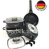 Набір посуду з гранітним антипригарним покриттям Higher Kitchen HK-312, Набір каструль для дому, ЧОРНИЙ, фото 8