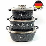 Набір посуду з гранітним антипригарним покриттям Higher Kitchen HK-312, Набір каструль для дому, ЧОРНИЙ, фото 2