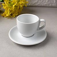 Чашка 90 мл + блюдце HLS (HR1318), белая посуда для ресторанов