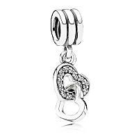 Шарм-подвеска Объедененные сердца, Пандора серебро