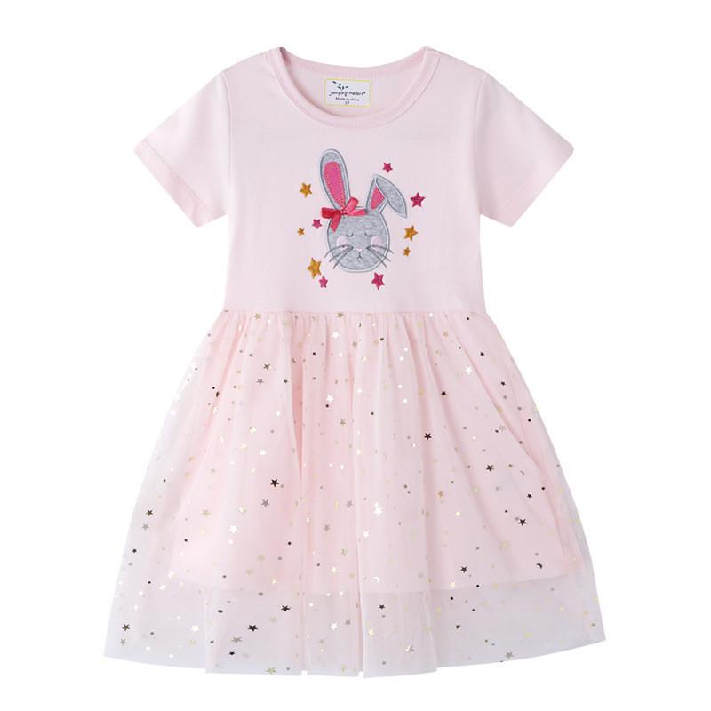 Плаття для дівчинки із зображенням зайця рожеве Зайчик з бантиком Berni Kids (80)