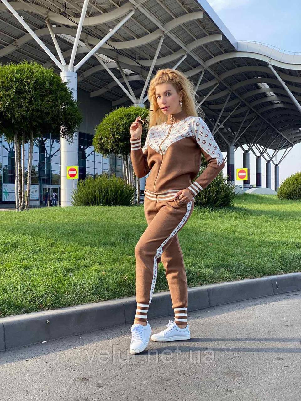 Жіночий спортивний в'язаний брендовий костюм, (Туреччина); Розміри:універсальний (44-46-48);3 кольори на фото.