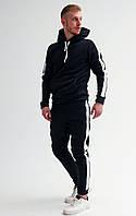 Зимний мужской спортивный костюм на флисе с белыми лампасами / Темно-синий