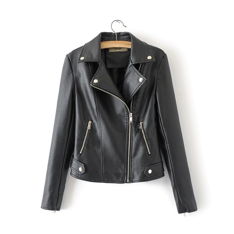 Куртка жіноча в байкерському стилі зі штучної шкіри чорна Glory Berni Fashion (S)