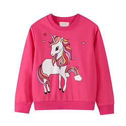 Свитшот для девочки с рисунком единорога розовый Shiny unicorn Berni Kids (80)