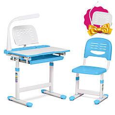 Детская парта со стульчиком FunDesk Cantare Blue+настольная светодиодная лампа FunDesk L1