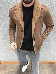 Чоловіча дублянка демісезонна (коричнева) повсякденна тепла куртка А6102