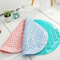 Круглий нековзний килимок з ПВХ для ванної кімнати, килимок для душу, щітка для стоп, фото 1