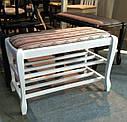 Банкетка Гармонія 70см з 2 полицями горіх, фото 7