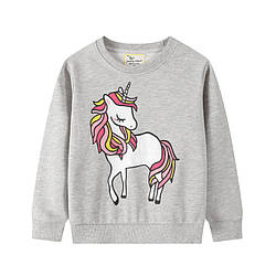 Свитшот для девочки с изображением единорога серый Fairy unicorn Berni Kids (80)
